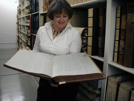 Diane Allengame archivist in stacks