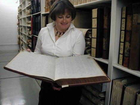 Diane Allengame archivist in stacks