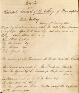 Village of Brampton council minutes page, 1857
