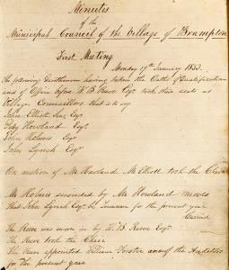 Village of Brampton council minutes page, 1857