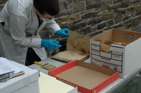 archivist cleaning mouldy document