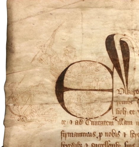 """Detail of the charter showing English and Scots in battle. What is probably Carlisle Castle is visible inside the capital """"E."""""""