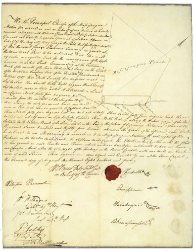 1805 treaty between the Mississauga people and the Crown relinquishing the Mississauga tract, the first part of Peel to be surveyed for settlement. The names and totems of the witnessing chiefs are at the bottom. (Library and Archives Canada)