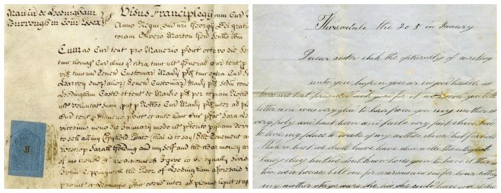 Many of the English records in the Peel Archives fall into two groups: legal documents, and personal letters to English emigrants. Above are detail from two such documents. Left, a 1720 manorial court document from Hedingham Essex. Right, an 1856 letter to a emigrant to Canada from Thixendale, Yorkshire.