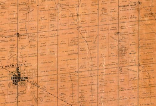 1859 map of Peel County shows both Brampton and Stanely's Mills where Vipond was living as he wrote his letter. Today's Brampton has taken in surrounding settlements like this.