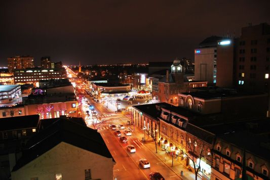 Downtown Brampton at night showing its mixture of Victorian and modern architecture. (Image courtesy of the City of Brampton)