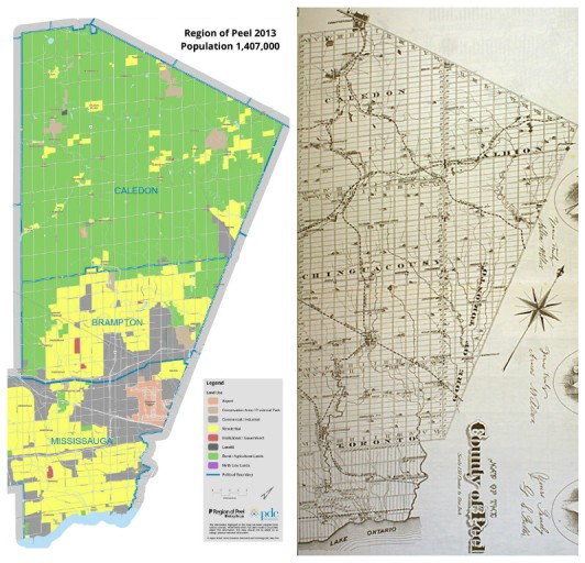 Maps of the Region of Peel (2013) and the County of Peel (1877) showing the relative size of Brampton. In 1877 Brampton is the town about two thirds of the way down the map.