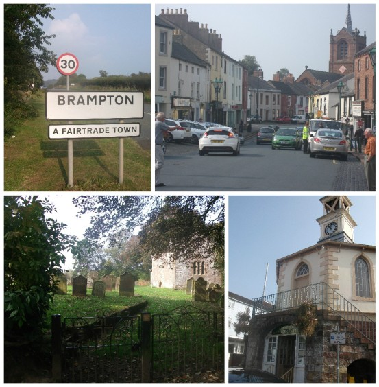 Scenes of Brampton, Cumbria: clockwise from upper left: the edge of town; Front Street; the cemetery around the Old Church (possibly built on a Roman fort); the hexagonal Moot Hall.