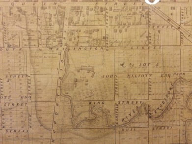 John Elliott's land in Brampton, Peel County in 1857, surrounded by the village lots he had surveyed. The Peel Art Gallery, Museum, and Archives now sits on the southeast corner of Main and Wellington Streets in the old county buildings.