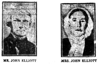 The only portraits we have of John and Mary Jane Elliott as printed in the newspaper, The Brampton Conservator. (Peel Archives Newspaper Collection)
