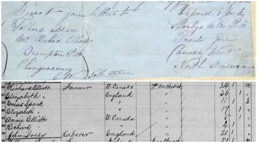 Addresses provided by Vipond for his stepfather, Richard Elliott and himself (top). Canadian census entries for 1871 showing Vipond's mother and sister living with Richard Elliott, John Elliott's son.