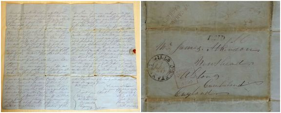 Letter to James Atkinson from Vipond Spark, 1857. DX 1194/2, Cumbria Archive Service.