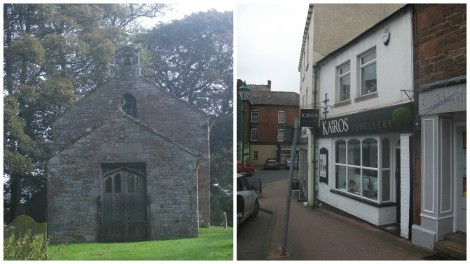 The scene of Lawson's marriage at the Old Parish Church, Brampton (left) and of his draper's shop in Brampton (right).