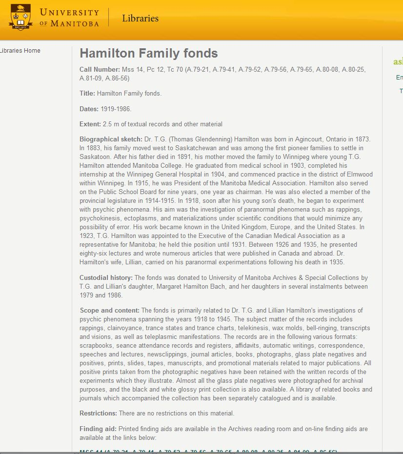 Fonds Level Description Of The Hamilton Family Fonds At The University Of  Manitoba, Archives U0026 Special Collections.