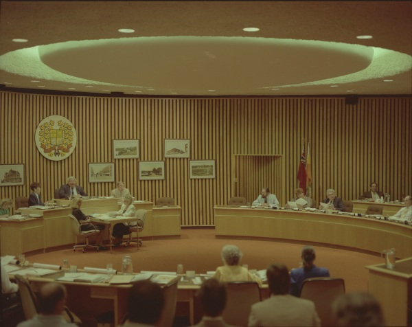 Region of Peel council chambers, 1986