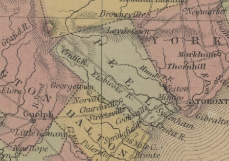 Canada West, 1854 (Region of Peel Archives map and plan collection, 2014.155)