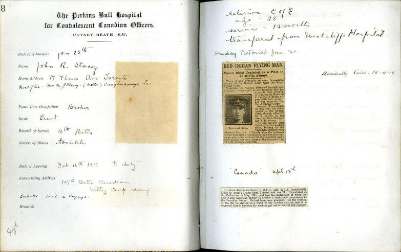 Perkins Bull Hospital register page (sample)