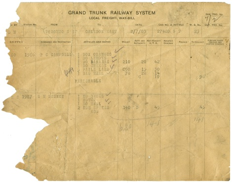 Grand Trunk railway freight bill, 1903 (Caledon East railway station fonds, 2017.083) - Copy