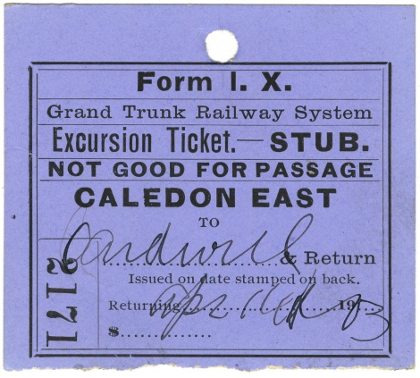 Ticket stub, 1903, Caledon East railway station fonds (2017.083)