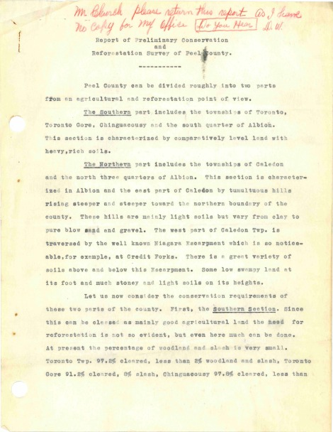 Report of Preliminary Conservation and Reforestation Survey of Peel County, 1940 (Jan-Mar) RG12_Page_1